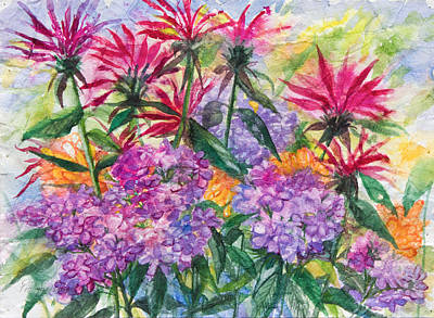 Bee Balm And Phlox Print by Patricia Allingham Carlson