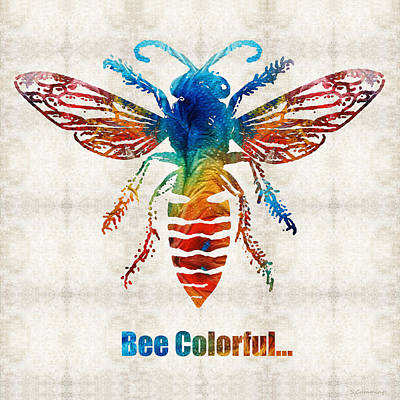 Bee Colorful - Art By Sharon Cummings Print by Sharon Cummings