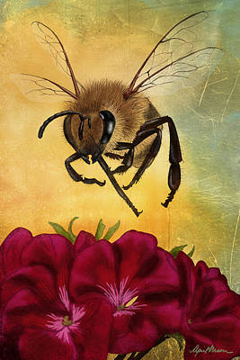 Red Geranium Digital Art - Bee I by April Moen