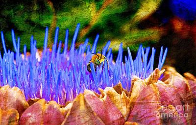 Artichoke Digital Art - Bee On An Artichoke by Jeanette Brown