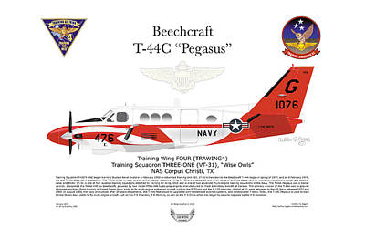 Pegasus Digital Art - Beechcraft T-44c Pegasus by Arthur Eggers