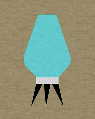 Beehive Lamp Turquoise Print by Donna Mibus