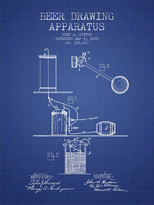 Beer Apparatus Patent From 1885 - Blueprint Print by Aged Pixel