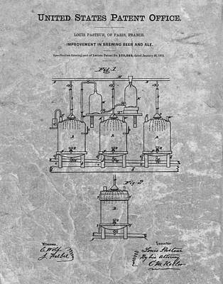 Hop Drawing - Beer Brewery Patent Charcoal by Dan Sproul