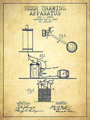 Tap Digital Art - Beer Drawing Apparatus Patent From 1885 by Aged Pixel