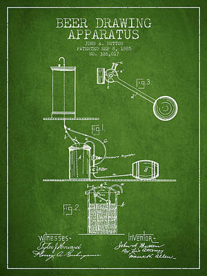 Tap Digital Art - Beer Drawing Apparatus Patent From 1885 - Green by Aged Pixel