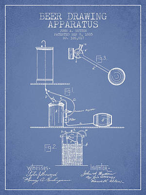 Tap Digital Art - Beer Drawing Apparatus Patent From 1885 - Light Blue by Aged Pixel