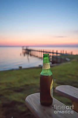 Beer In The Sunset In Obx Print by Kay Pickens