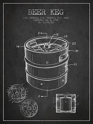 Beer Drawing - Beer Keg Patent Drawing - Dark by Aged Pixel