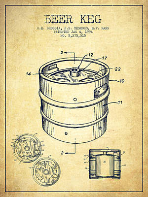 Technical Drawing - Beer Keg Patent Drawing - Vintage by Aged Pixel