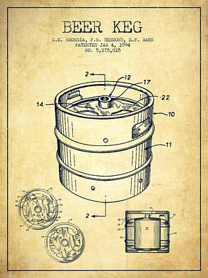 Beer Keg Patent Drawing - Vintage Print by Aged Pixel