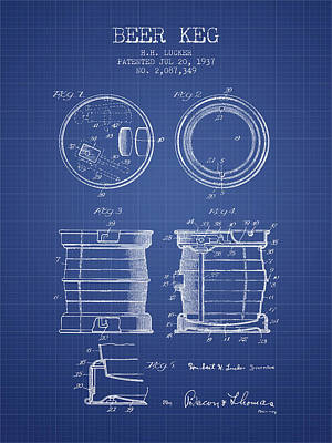 Beer Keg Patent From 1937 - Blueprint Print by Aged Pixel