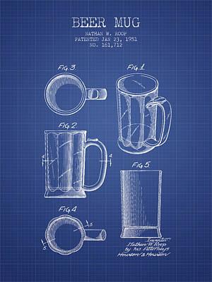 Glass Wall Digital Art - Beer Mug Patent 1951 - Blueprint by Aged Pixel
