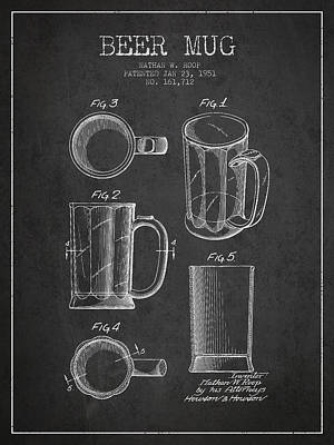 Glass Wall Digital Art - Beer Mug Patent Drawing From 1951 - Dark by Aged Pixel