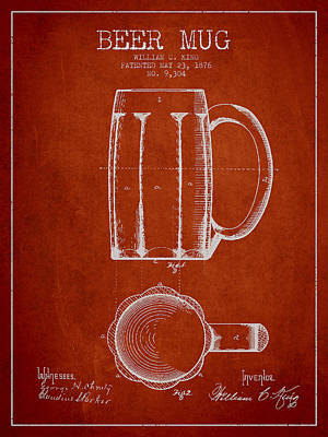 Beer Drawing - Beer Mug Patent From 1876 - Red by Aged Pixel