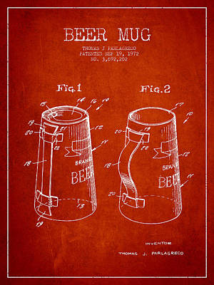 Glass Wall Digital Art - Beer Mug Patent From 1972 - Red by Aged Pixel