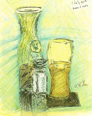 Snack Bar Drawing - Beer N Nuts by William Killen