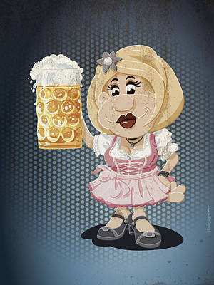 Beer Stein Dirndl Oktoberfest Cartoon Woman Grunge Color Print by Frank Ramspott