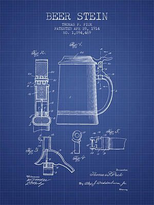 Glass Wall Digital Art - Beer Stein Patent 1914 - Blueprint by Aged Pixel