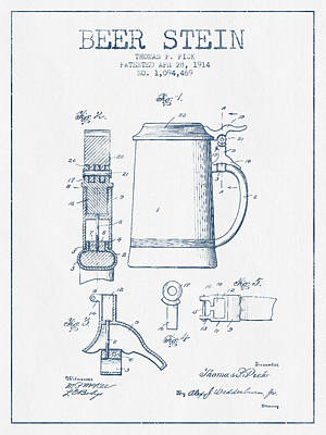 Beer Stein Patent From 1914 -  Blue Ink Print by Aged Pixel