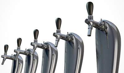 Faucet Digital Art - Beer Tap Row Isolated by Allan Swart