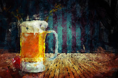 Digital Abstract Painting - Beer Time by Adam Vance