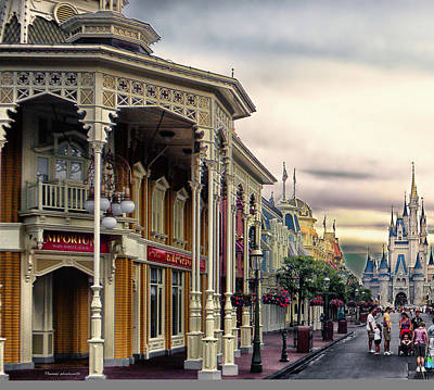 Before The Gates Open Main Street Magic Kingdom Wdw Print by Thomas Woolworth
