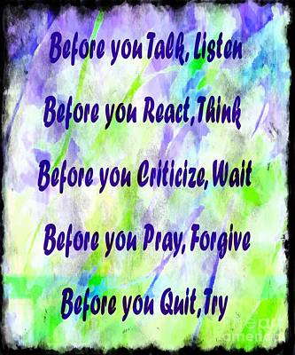 Before You Quit 2 Print by Barbara Griffin