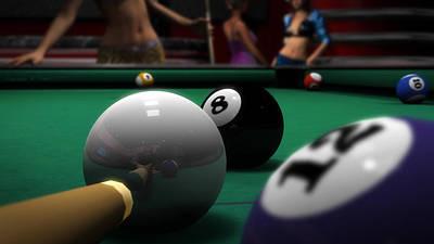 Billiards Hall Digital Art - Behind The 8 by Brandon Freer