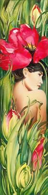 Behind The Curtain Of Colours -the Tulip Print by Anna Ewa Miarczynska