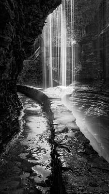 Behind The Falls Black And White Print by Bill Wakeley