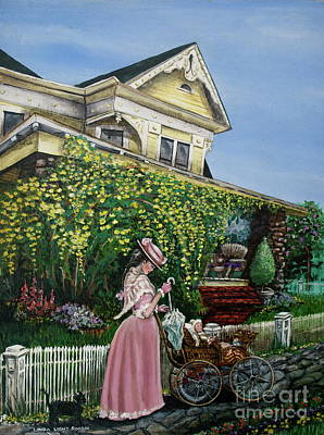 Baby Carriage Painting - Behind The Garden Gate by Linda Simon