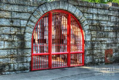 Behind The Red Gate Print by Mel Steinhauer