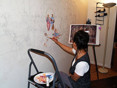 Becky Kim Artist Photograph - Behind The Scenes Mural 2 by Becky Kim