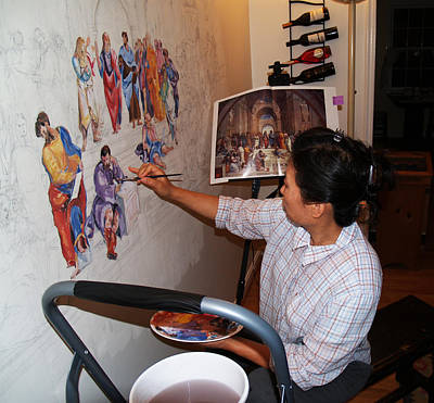 Photograph - Behind The Scenes Mural 3 by Becky Kim