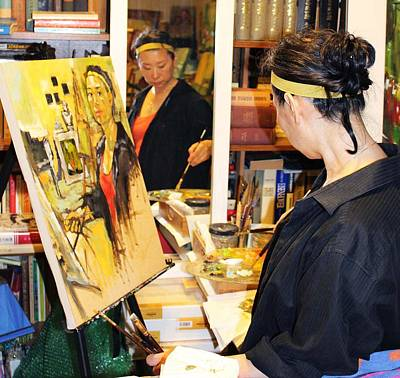 Behind The Scenes - Painting Self Portraits Print by Becky Kim