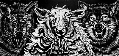 Printmaking Painting - Behold I Send You Out As Sheep Among Wolves by Sarah Taylor Ko
