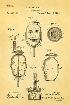Mad Men Photograph - Beidler Jack-a-lantern Patent Art 1889 by Ian Monk