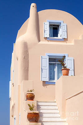 Deep Blue Photograph - Beige Color House by Aiolos Greek Collections