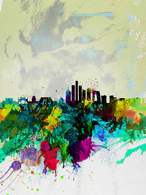 Travel Digital Art - Beijing Watercolor Skyline by Naxart Studio