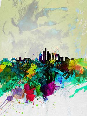 Panoramic Digital Art - Beijing Watercolor Skyline by Naxart Studio
