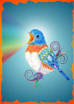 Lovebird Drawing - Bejeweled by Melinda DeMent