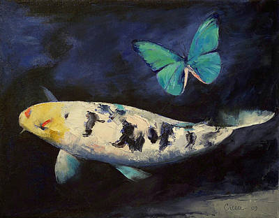 Butterfly Koi Painting - Bekko Koi And Butterfly by Michael Creese
