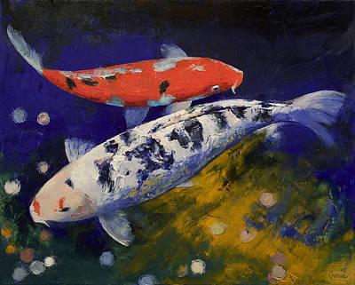 Ko Painting - Bekko Koi Fish by Michael Creese