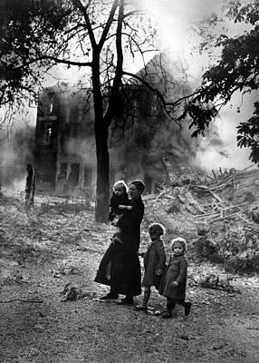 Belgian Refugees During German World Print by Everett