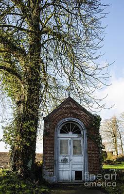 Antique Photograph - Belgian Wayside Chapel by Deborah Smolinske