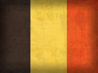 Belgian Mixed Media - Belgium Flag Vintage Distressed Finish by Design Turnpike