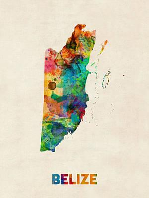 Latin Digital Art - Belize Watercolor Map by Michael Tompsett