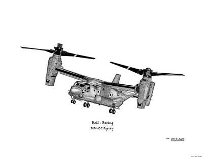 Osprey Drawing - Bell-boeing Mv-22b Osprey by Arthur Eggers