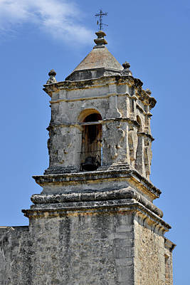 Bell Tower Mission San Jose Tx Print by Christine Till